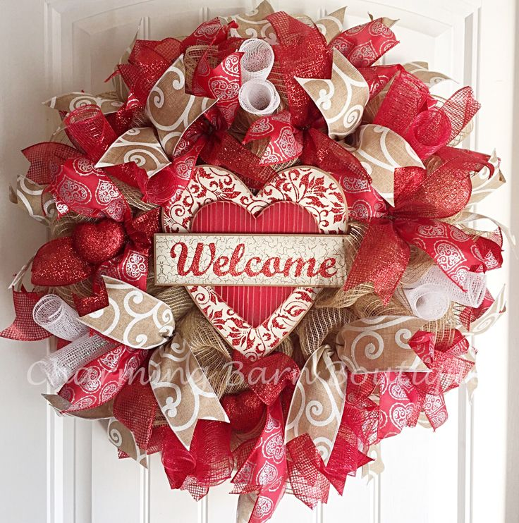 Valentine's Day, Valentine's Day Heart Wreath, Valentines Wreath, Welcome Wreath, Valentine Wreath, Heart Wreath, Valentines Day Decor by CharmingBarnBoutique on Etsy