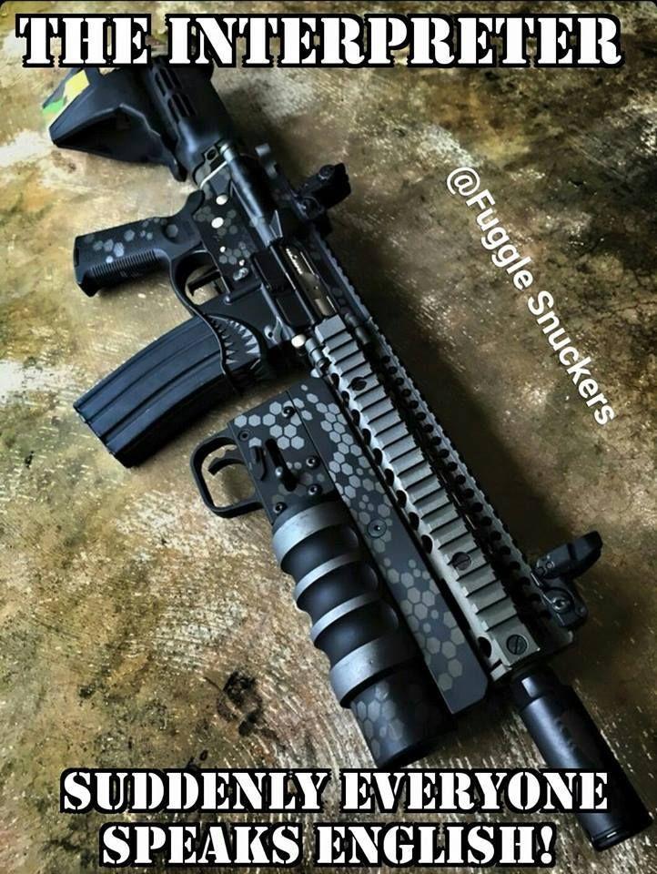 The interpreter gun - meme - http://jokideo.com/the-interpreter-gun-meme/