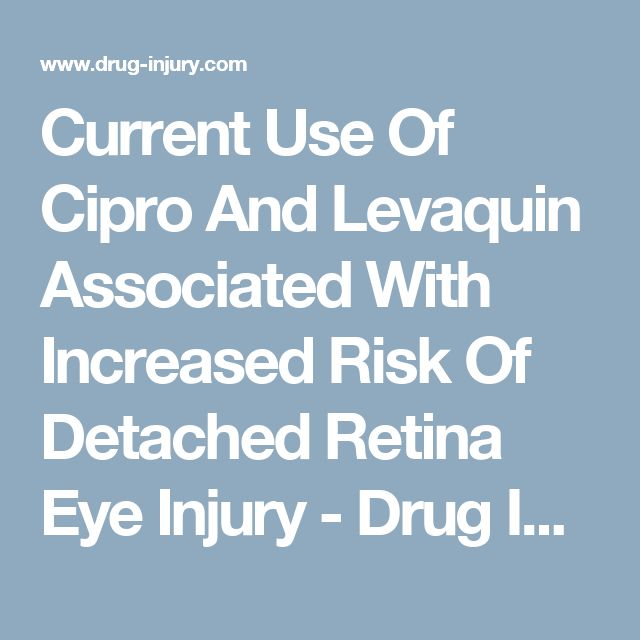 Current Use Of Cipro And Levaquin Associated With Increased Risk Of Detached Retina Eye Injury - Drug Injury Watch