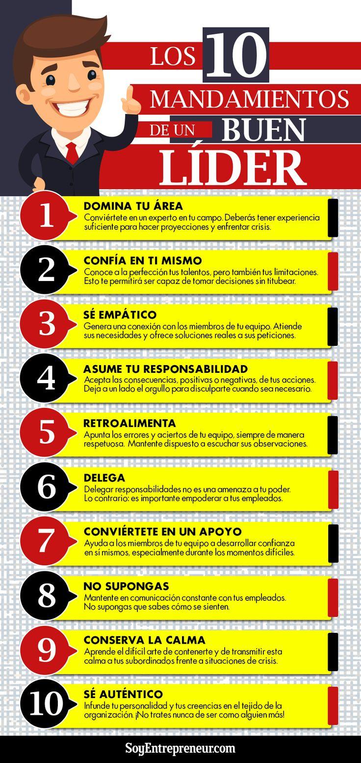 Hola: Una infografía con 10 mandamientos del líder. Vía Un saludo