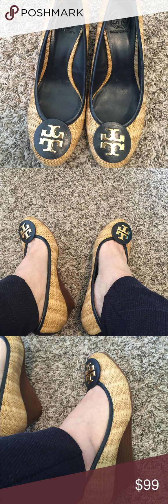 Black Friday $79 Tory Burch Navy Wicker Wedge Navy and gold logo accent wedge shoes  Authentic TB Tory Burch Shoes Platforms