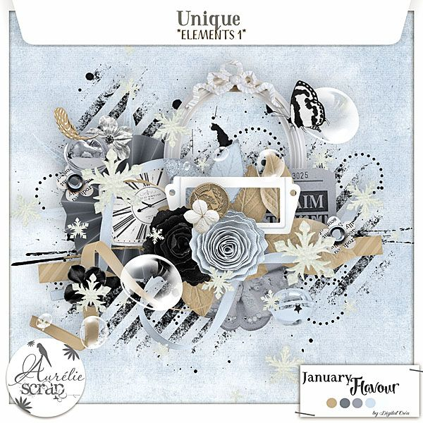 """Elements 1 """"Unique"""" digital scrapbooking kit by Aurelie Scrap. A winter touch in this very shiny elements pack. I propose you this pack of elements which can only embellish your most beautiful photos. Here is my January Flavour 2016."""