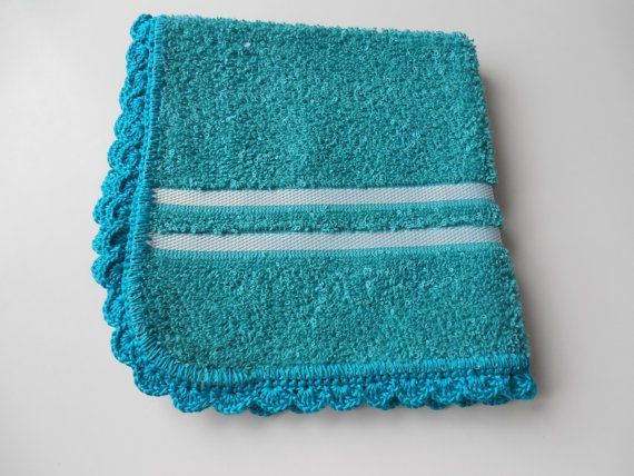 Dish Cloth Crochet Edged Turquoise  Aqua  by ShelleysCrochetOle