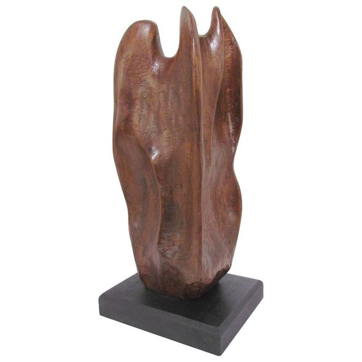 "Abstract Carved Wood Sculpture Titled ""Eternal Flame"" by Skolnikoff, 1967 1"