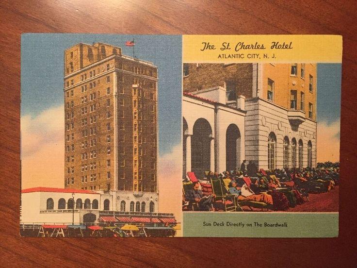 1954 St Charles Hotel Linen Multi View Atlantic City TICHNOR Centennial Postmark  | eBay