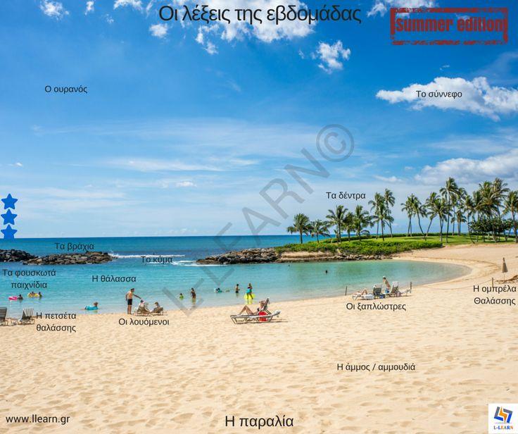 Η παραλία. The beach.  #λέξεις #Ελληνικά #ελληνική #γλώσσα #λεξιλόγιο #Greek #words #Greek #language #vocabulary #LLEARN