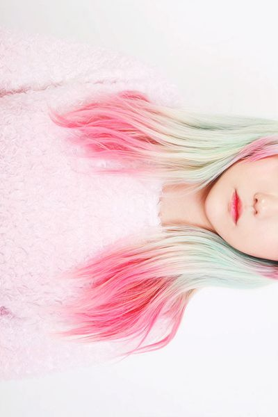 Green pink ombre dip dyed pastel hair