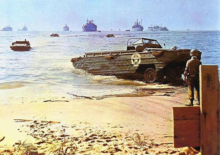 A DUKW coming ashore on a Beach in the south of France during operation Dragoon.