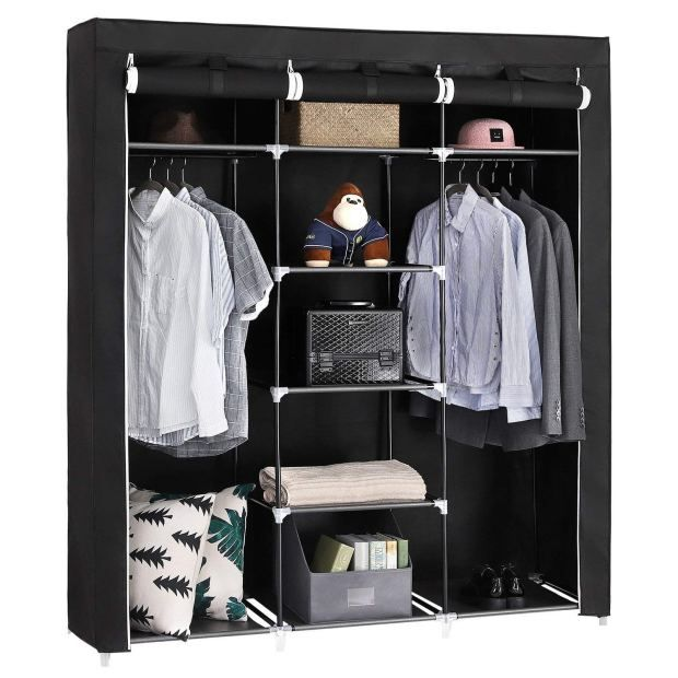 Portable Clothes Closet Non Woven Black Canvas Fabric Wardrobe Double Rod Storage Organi Portable Wardrobe Clothes Storage Organizer Closet Clothes Storage