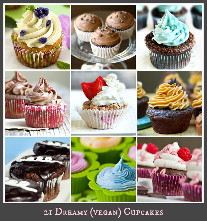 "These 21 decadent, cravable, dreamy vegan cupcakes are ready to put a smile on your face. If you think a ""vegan"" cupcake cannot stand up next to a traditional cupcake – just check out these recipes and be amazed! From creamy chocolate frosting and white fluffy cake to peanut butter and chocolate cupcakes. These lovely, luscious cupcakes are an perfect cheer-up-your-day treat."