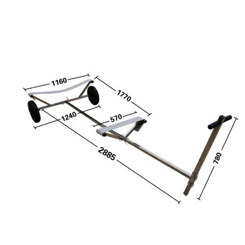 """Stainless Steel Boat Launching Trailer Hand Dolly for Inflatable with 16"""" Wheels"""