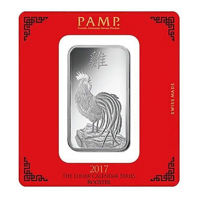 100 gram PAMP Suisse Year of the Rooster Silver Bar (In Assay)