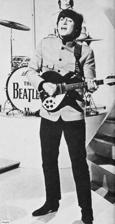 John at the ABC studios, Teddington for The Eamonn Andrews Show April 11, 1965.Scan from 16 Scoop: Beatles Complete Story from Birth to Now (1965).