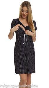 £11.99 Maternity Pregnancy Breastfeeding Nursing Nightdress UK size 8 10 12 14 16