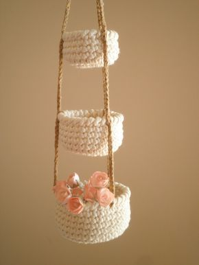 3 Tier Little Crochet Baskets, Mini Hanging Baskets, Country Decor, Natural Home Decor, Cozy Home Decor, Gift for Women by PetitesByYurika on Etsy https://www.etsy.com/listing/285392489/3-tier-little-crochet-baskets-mini