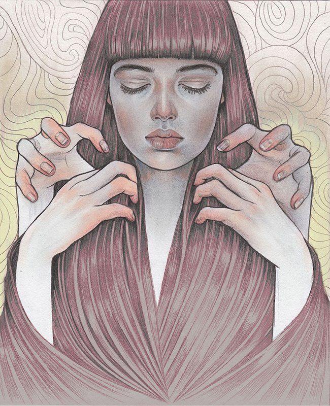 'Trance', 2013. Graphite on paper (digital colour), 20 x 30 cm by Martine…