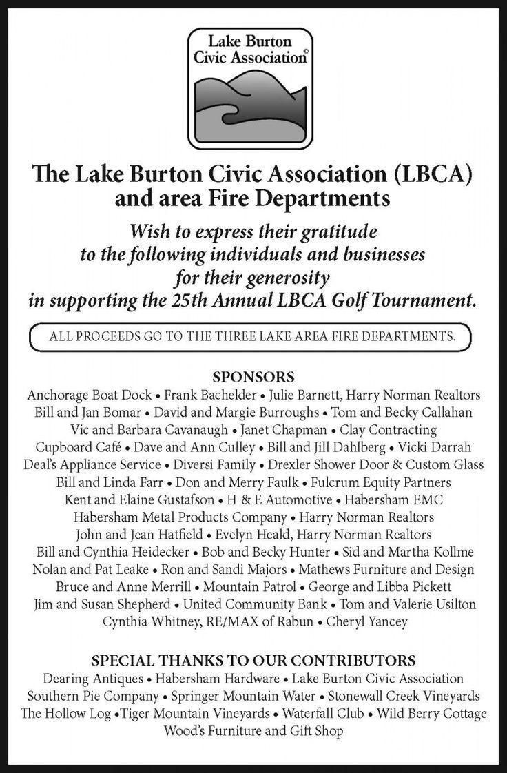 The Lake Burton Civic Association (LBCA) and area Fire