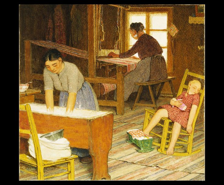 Clarence Gagnon (1881 - 1942), Baking and Weaving, 1928 - 1933