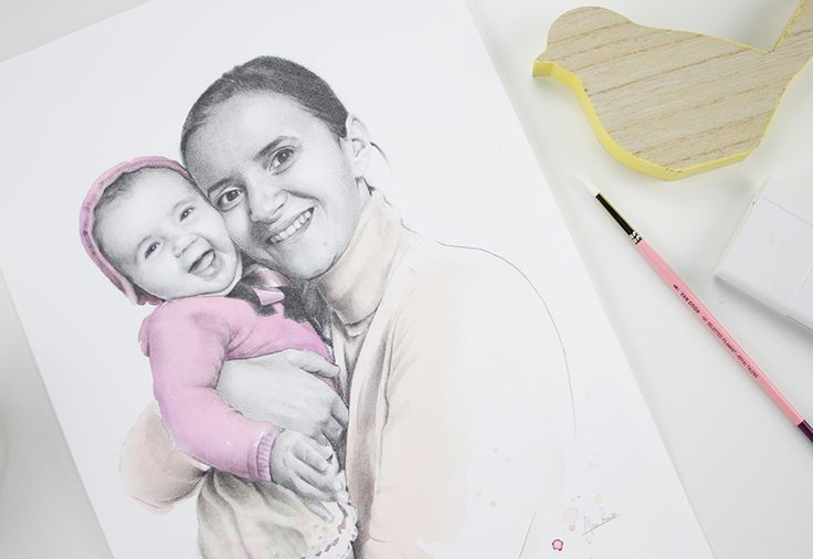 Retrato madre e hija a lápiz y acuarela. Portrait mother and daughter. Pencil drawing and watercolor