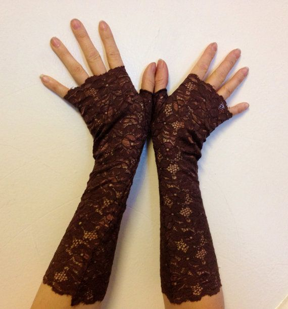 Fingerless guanti Chocolate Brown pizzo floreale inverno regalo nuovo anni vacanza nozze Armwarmers vittoriana Edwardian tratto Burlesque