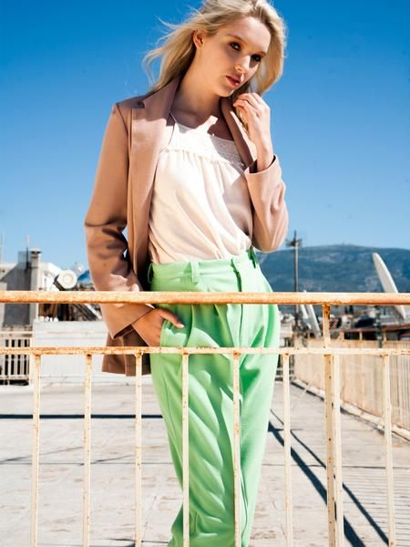 Elegant outfit / office and after-office look / pistachio cotton pleat pants / cotton tan cardigan jacket / top with beautiful lace detail