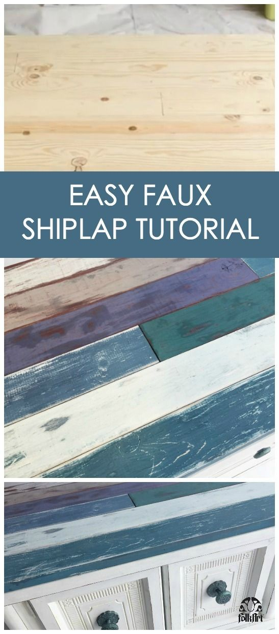 How to Create a Distressed, Faux Farmhouse Shiplap Finish  Not ready to commit to a whole wall but love the shiplap look? Learn how to add a faux plank look to furniture and distress new wood to give a weathered wood effect! Cathie & Steve use FolkArt Milk Paint and FolkArt Home Decor Chalk to upcycle an 80s coffee table into a coastal inspired statement piece in the latest episode of Furniture Flip.