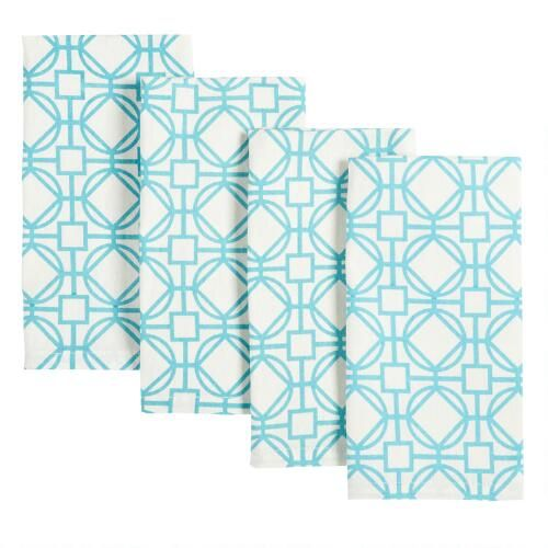 One of my favorite discoveries at ChristmasTreeShops.com: Turquoise Geometric Patterned Cotton Napkins, Set of 4