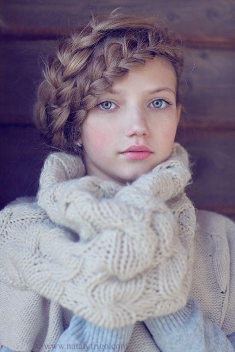 cute + cozy - love her braids!