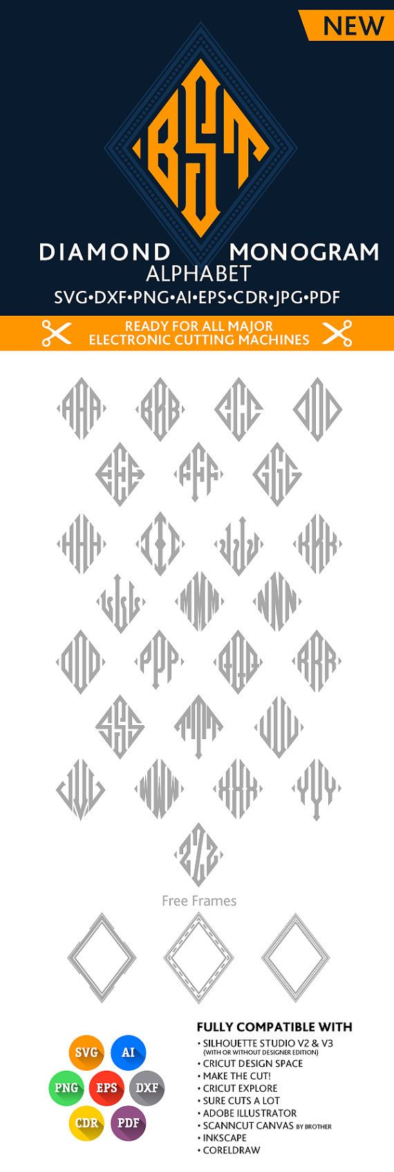 Diamond Monogram SVG Alphabet Svg DXF EPS Silhouette Studio Png Pdf Jpg Ai Cdr digital cut files for Silhouette Studio, Cricut, Cameo