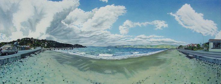 """""""Seatoun"""", Oil on Canvas, 170cm x 65cm. Seatoun Beach, Wellington."""