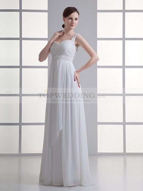 Straps Chiffon Column Wedding Dress with Surplice Bodice and Embellished Sash