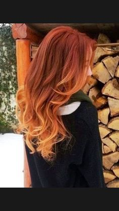 Ombré fire red hair into soft beautiful orange-favorite!