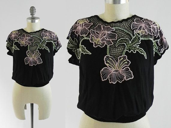 Vintage Genuine Bali Cutwork Top - Indonesian Embroidered Ethnic Festival Blouse Shirt - Black Crochet Top