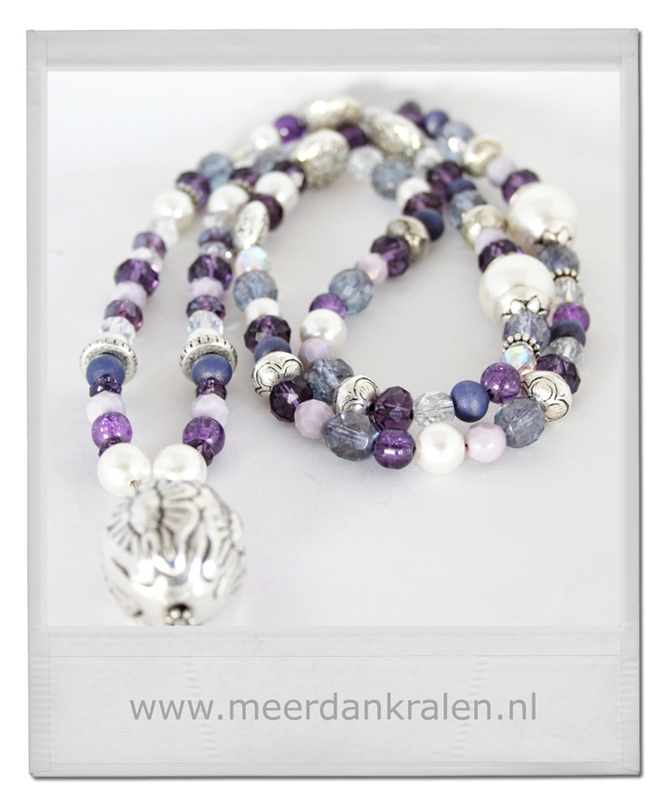 Purple with white beaded necklace
