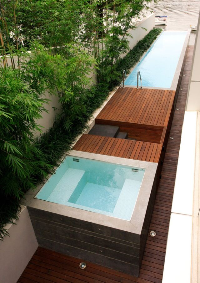 Charmant Narrow Pool + Hot Tub For Limited Space