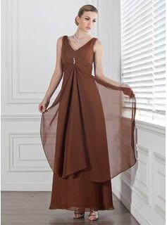 Empire V-neck Ankle-Length Chiffon Bridesmaid Dress With Beading Cascading Ruffles (007001778) - JJsHouse