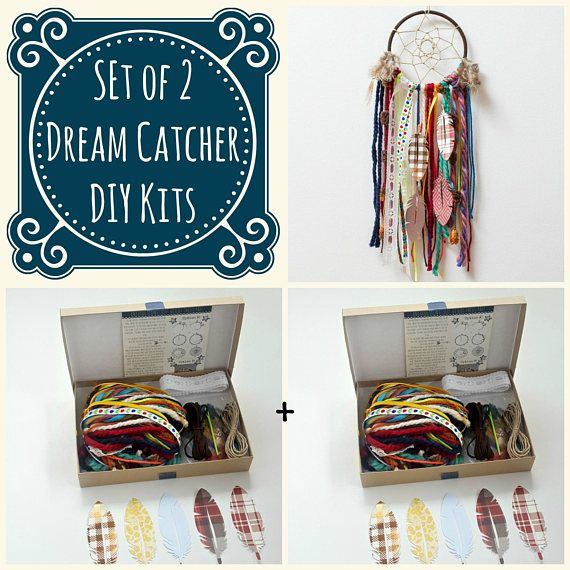 Set of 2 Colorful DIY dream catcher kits. Do it Yourself