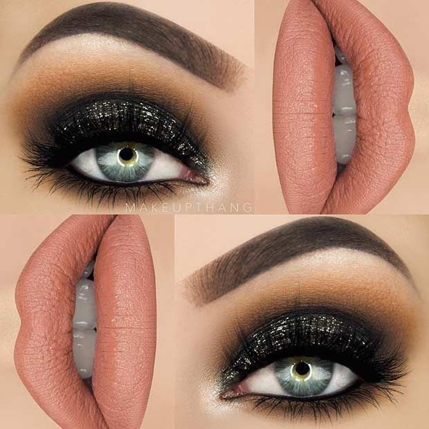 Dramatic Black Eye Makeup Idea for New Years Eve