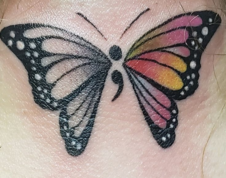 Butterfly Semicolon tattoo by Tony Angelicola