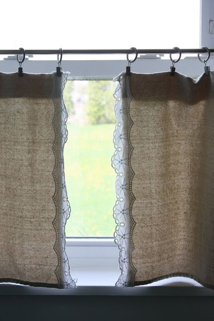 DIY Lace and Burlap Curtain.  @Heather Hermanson this likes something you would love!