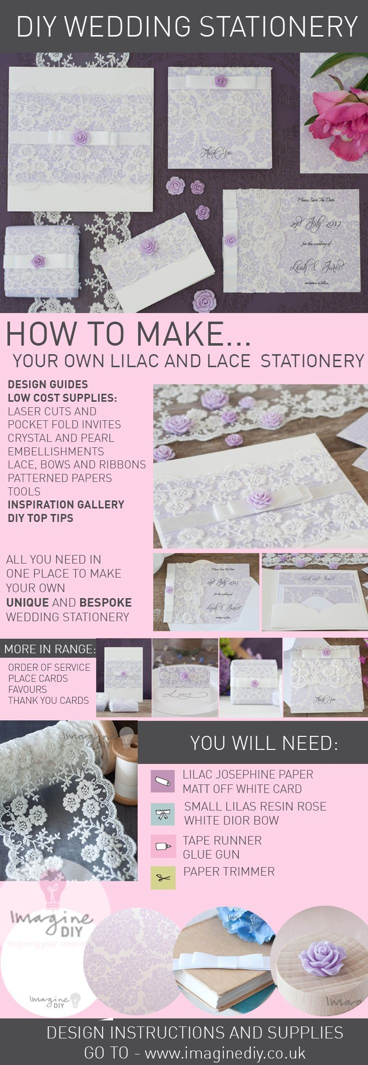 make lilac and lace diy wedding stationery.  DIY wedding stationery products supplies and instructions from www.imaginediy.co.uk  lilac wedding, diy wedding stationery, lilac wedding stationery, lace wedding, lace invitations, imaginediy, diy wedding ideas  #imaginediy #lilacwedding #lacewedding #diywedding #diyweddingstationery #laceweddingstationery #laceweddinginvitations #diyweddingideas #weddingideas #lilacweddingideas #prettywedding #weddinginvitations #diyinvitations #diyinvites