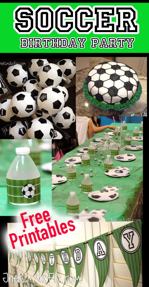 Throw a soccer themed birthday party.. Cake, goody bags and decor ideas.. Includes free printable files for Soccer Happy  Birthday banners and water bottle wrappers