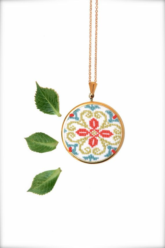 Hey, I found this really awesome Etsy listing at https://www.etsy.com/listing/224387297/hand-embroidered-boho-necklace-spring