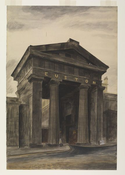 'Doric arch, Euston Station'. Barbara Jones. Watercolour and body colour painting on paper. 1943.