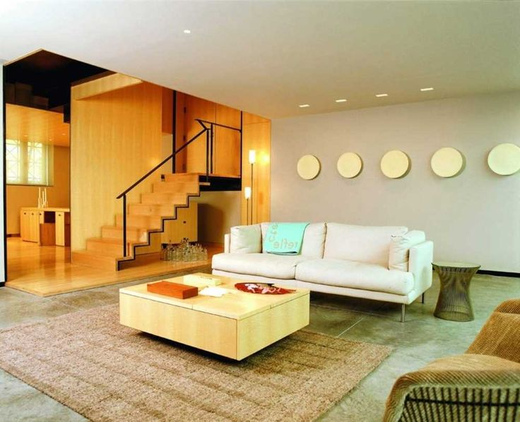 staircase ideas living room with white sofa