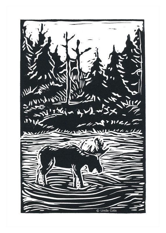 """Moose Heaven"" - linocut print - Linda Cote, Canada"