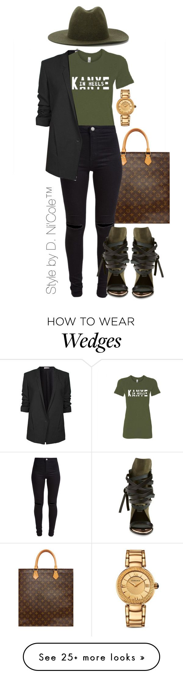 """""""Untitled #3244"""" by stylebydnicole on Polyvore featuring Louis Vuitton, New Look, Helmut Lang, Études, Ivy Kirzhner and Versace"""