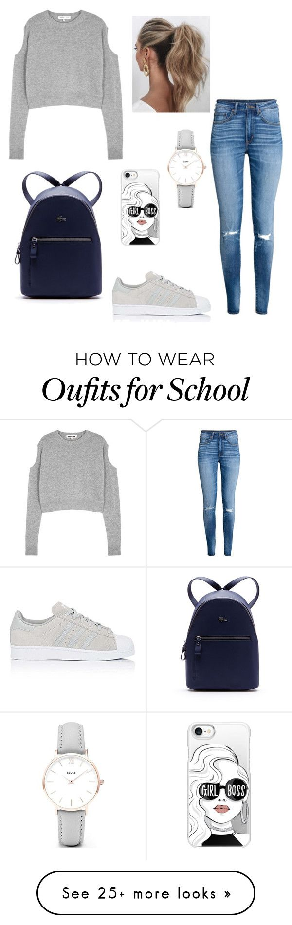 """""""SCHOOL look"""" by glady-dea on Polyvore featuring Love Couture, McQ by Alexander McQueen, H&M, adidas, Lacoste, CLUSE, Casetify, BackToSchool, outfit and school"""