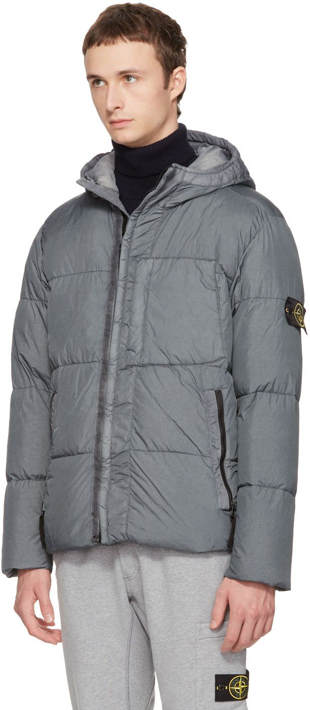 Stone Island - Grey Hooded Down Jacket
