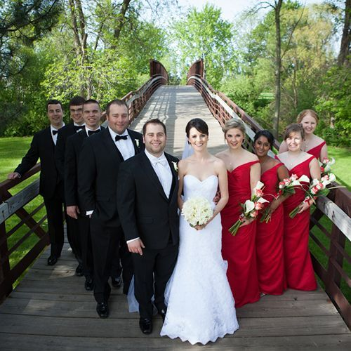 Real Weddings - In Bliss Weddings: Rachel and Tyler, along with their wedding party posed on a wooden bridge for a formal picture. The background of the bridge adds to the spring and vintage wedding. Photo Credit: Amenson Studio - See more at: http://inblissweddings.com/real-weddings/story/rachel_and_tyler/283#sthash.yFgqE2ut.dpuf